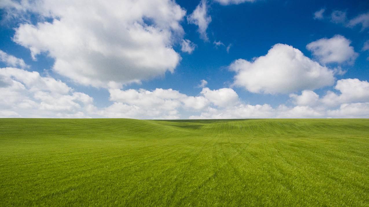 麦场与云,蓝天草地风景4K壁纸3840x2160