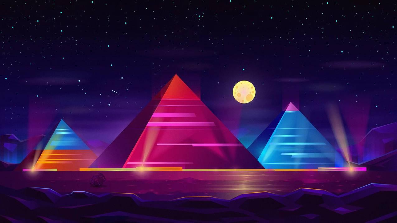 金字塔彩色霓虹4k壁纸3840x2160