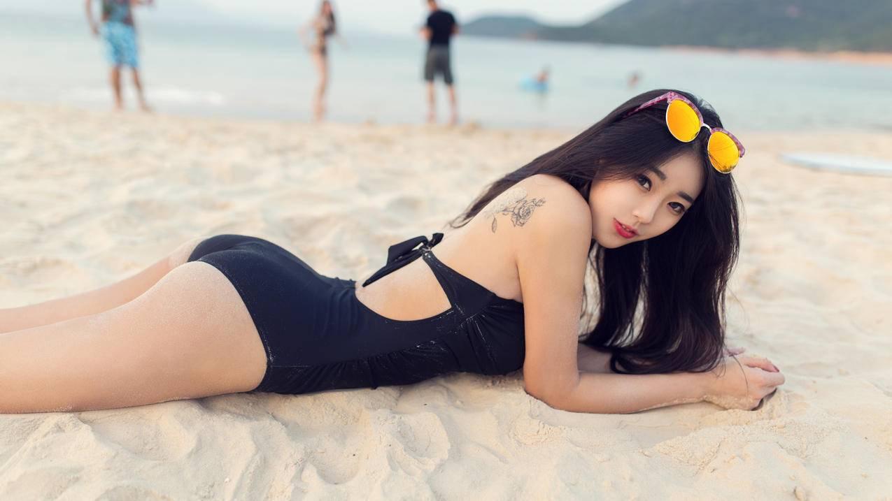 可乐Vicky,海滩写真,5K美女壁纸