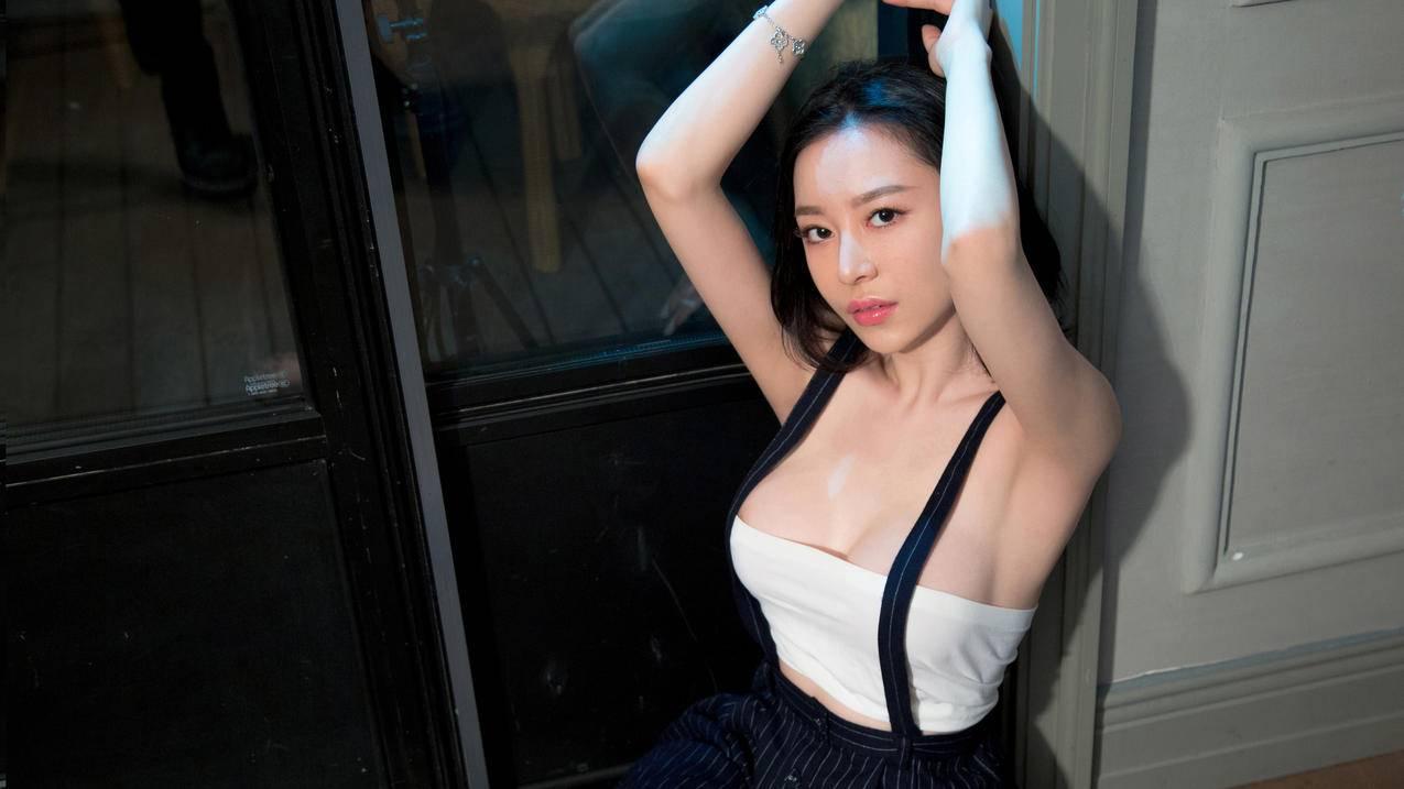 吊带裙,性感美女,慕羽茜4K壁纸