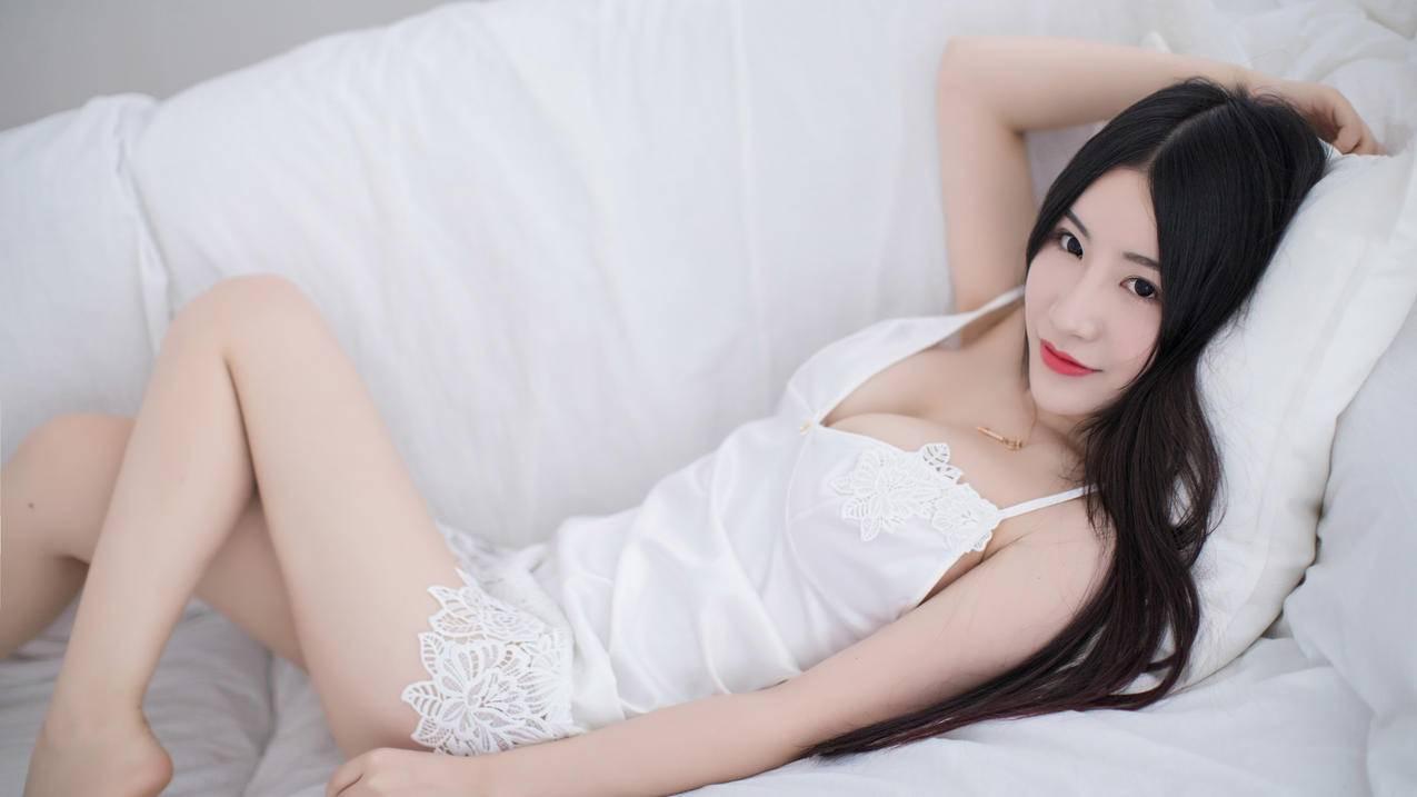 谢芷馨Sindy,白色睡裙美女4k壁纸