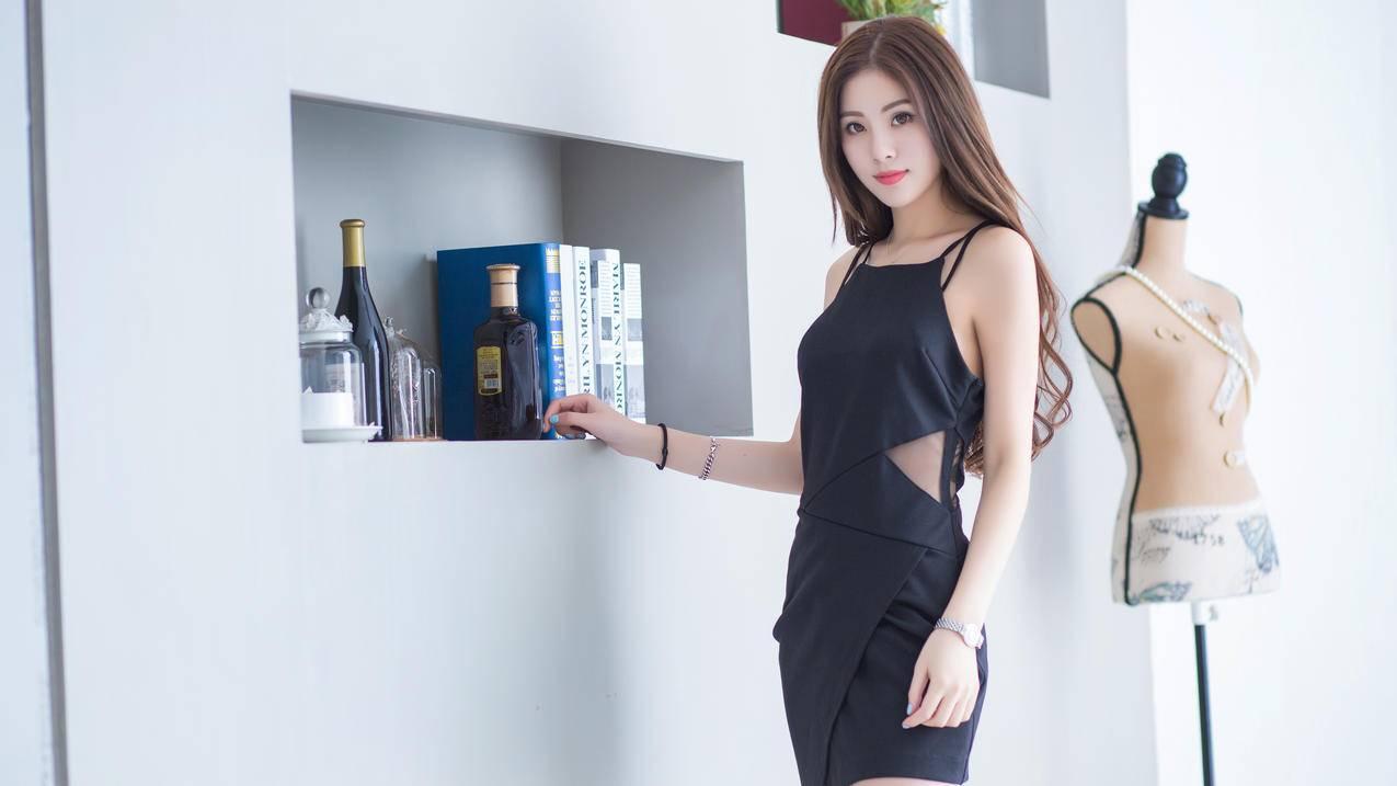黑色连衣裙,时尚,服装,美女模特,菲儿4K壁纸