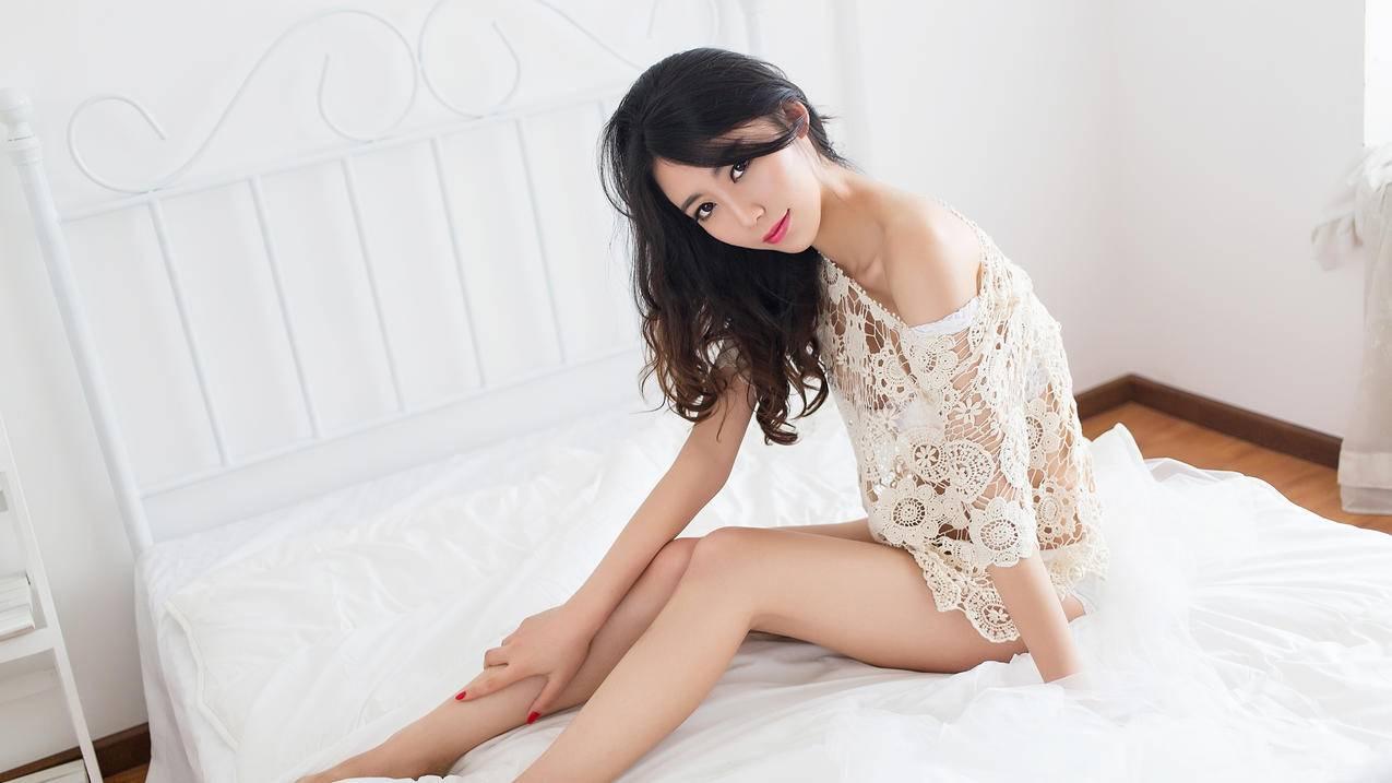 白色蕾丝,长腿美女,邓雪Sweet,4K壁纸