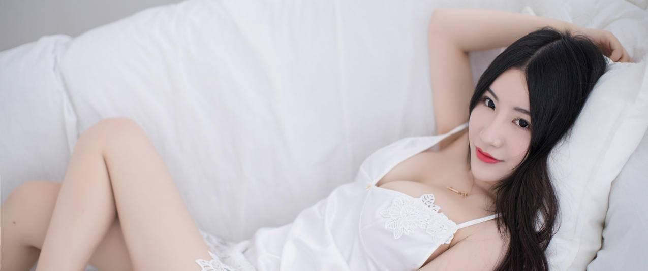 谢芷馨Sindy,白色小睡裙美女3440x1440带鱼屏壁纸