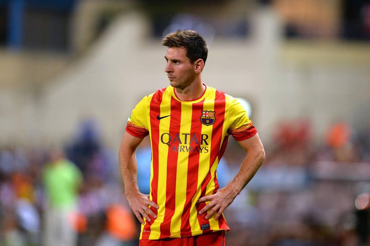 巴塞罗那,足球运动员,梅西,4K壁纸
