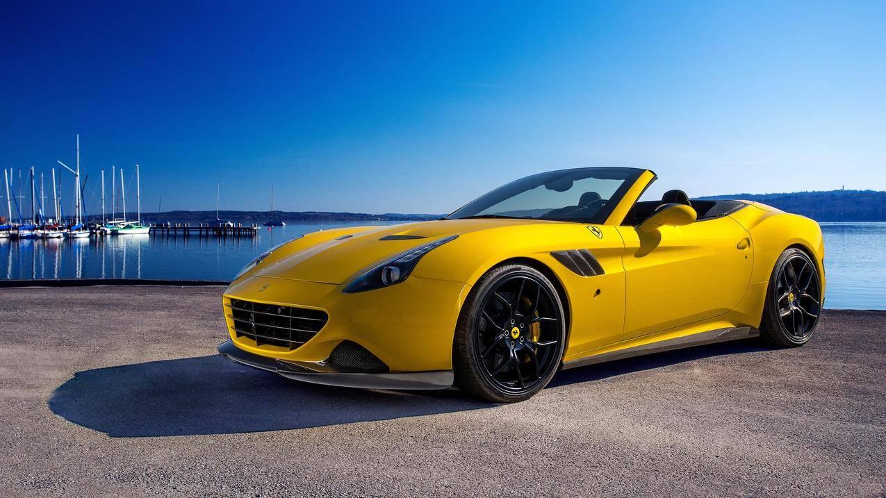 法拉利California黄色跑车4k高清壁纸