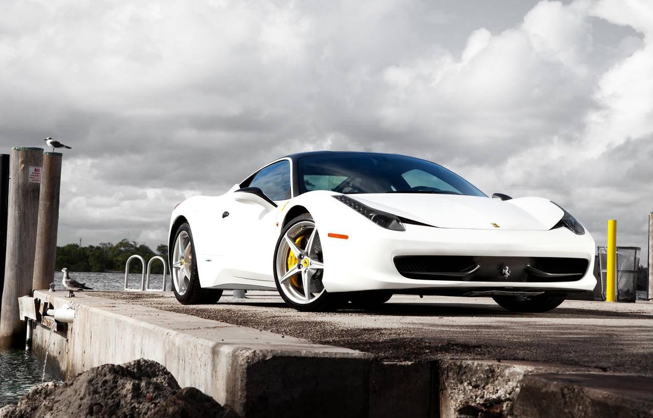 白色法拉利458,Italia跑车4K壁纸