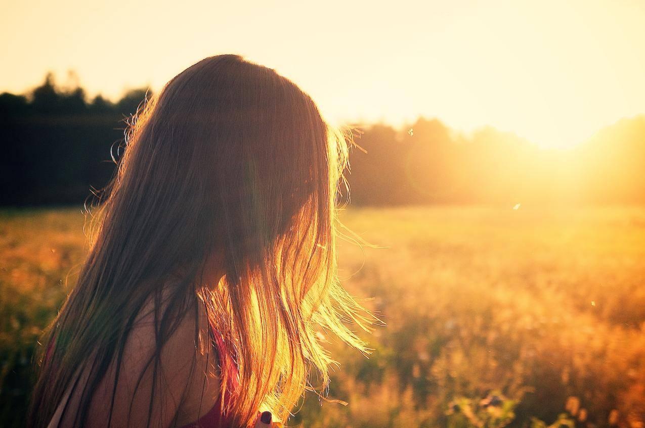 女孩,头发,日落,暮光之城,夏天,4k图片