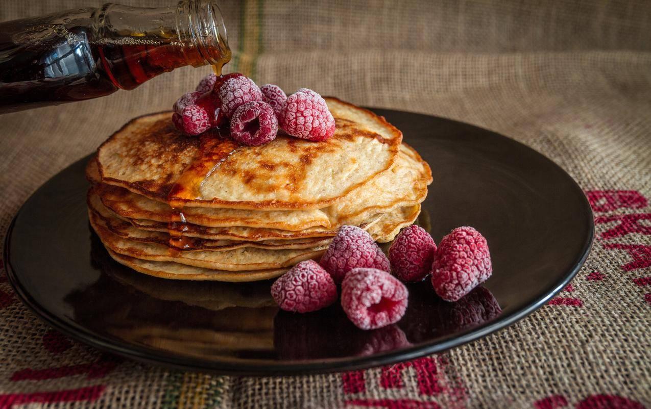 煎饼,早餐,甜点,美味,新鲜草莓,5k图片