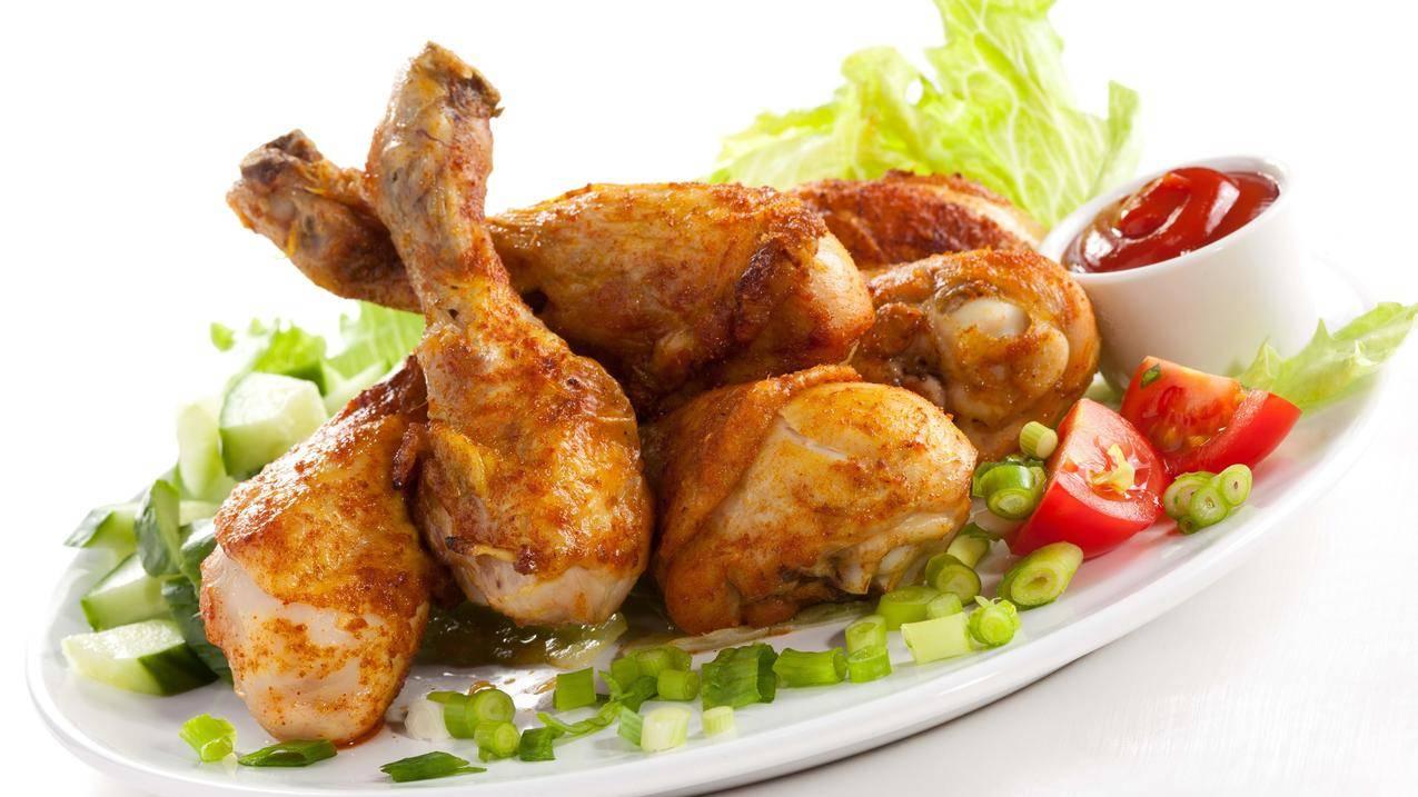 鸡腿,蔬菜,美味的食物4k壁纸