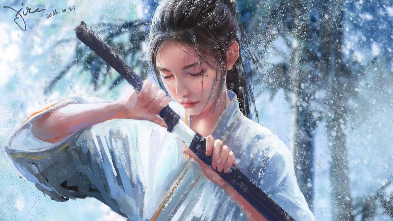 雪竹 女生 雪景 人头像 黑发 单马尾 宝剑 5k动漫壁纸