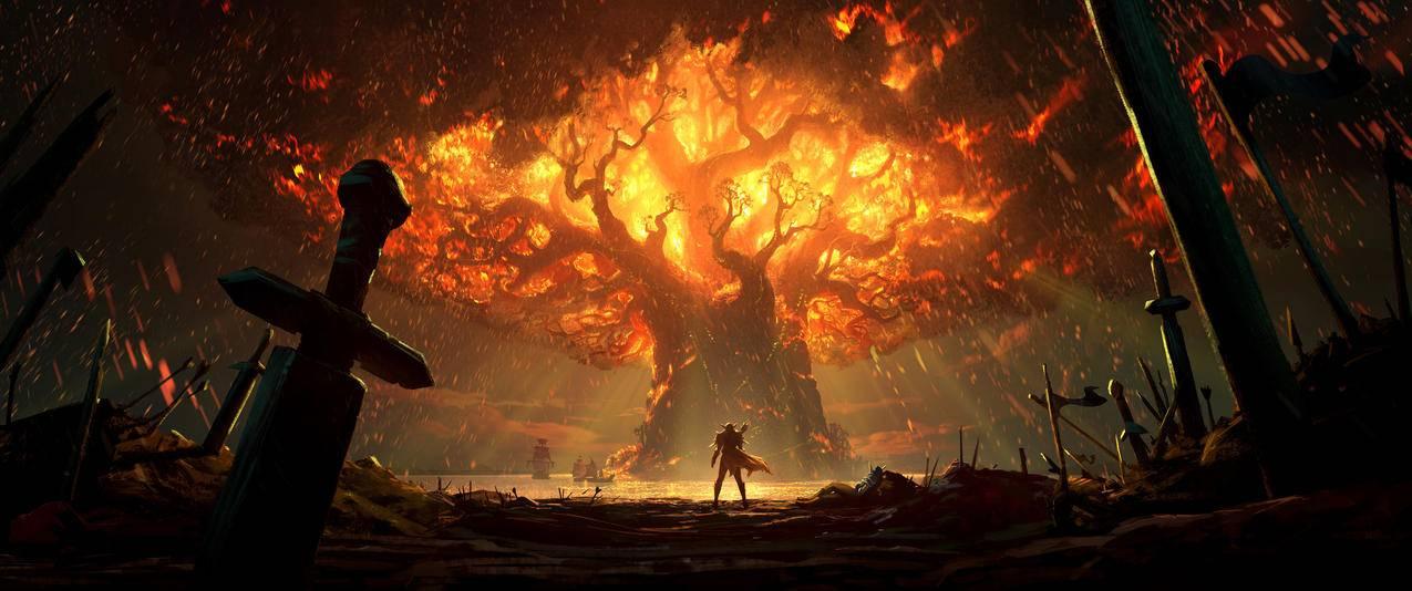 魔兽世界泰达希尔,树,火,3440x1440壁纸