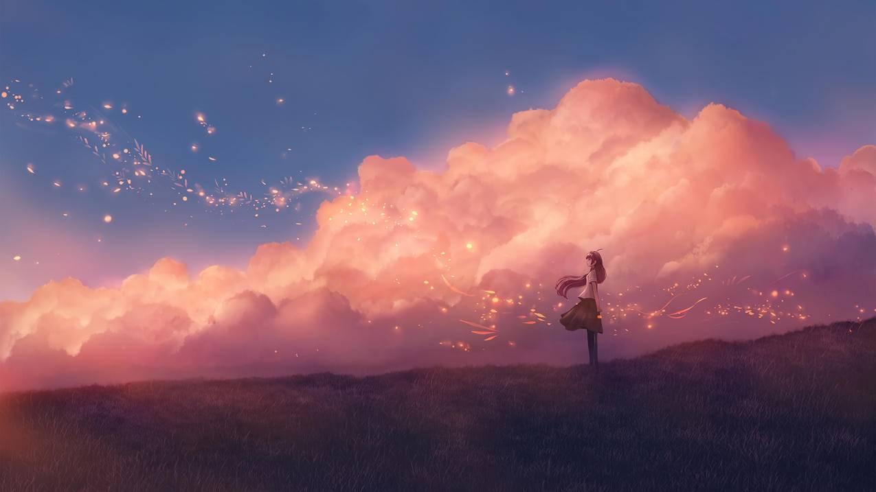 天空 云 少女 草地 唯美人物风景4k动漫壁纸3840x2160 千叶网