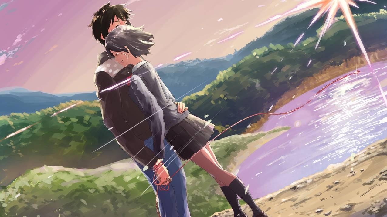 《你的名字》风景,浪漫,拥抱,两个人,4K动漫壁纸