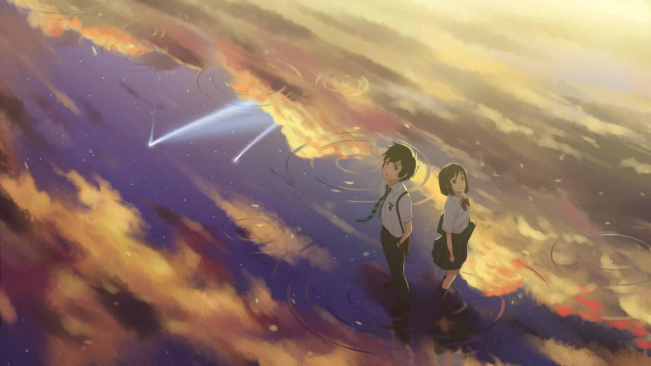 《你的名字》湖水,倒影,天空,4K动漫壁纸