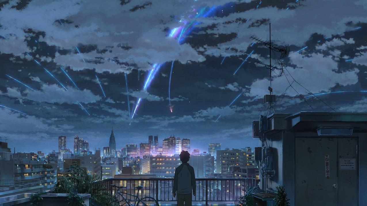 《你的名字》屋顶,天空,夜晚,城市,4K动漫壁纸